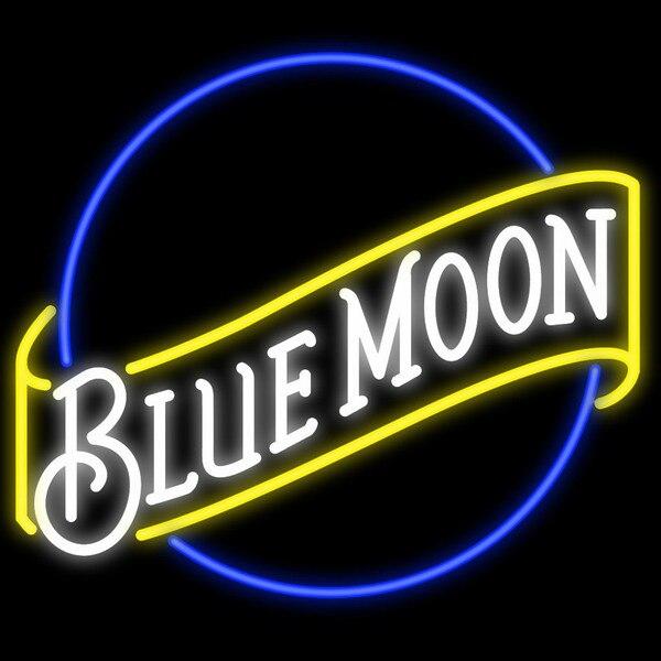 Blue Moon Glass Neon Light Sign Beer Bar