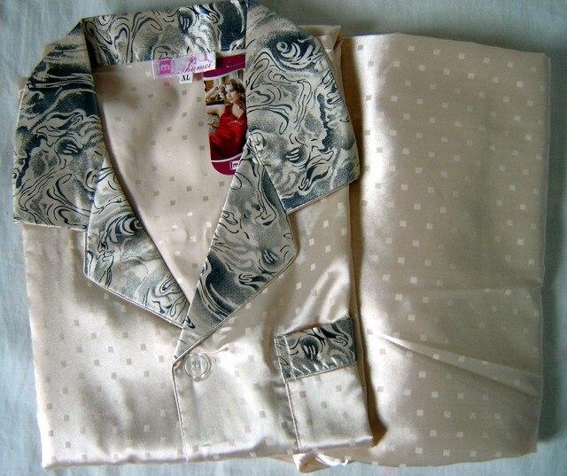 Золота Китайских людей Silk Район 2 шт. Ночное Одеяние пижамы пижамы Наборы Ванна Платье L XL XXL SH004