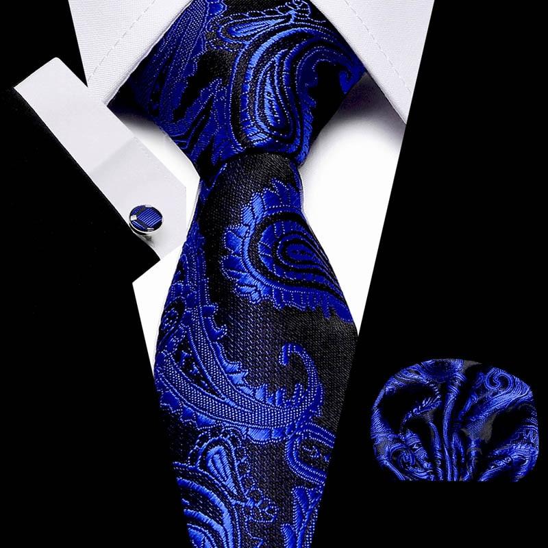 New Blue Paisley men ties set Extra Long Size 145cm*7.5cm Necktie 100% Silk Jacquard Woven Neck Tie Suit Wedding Party