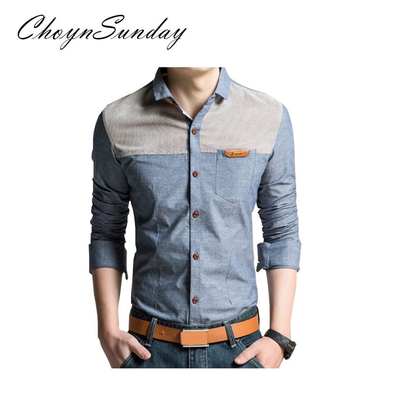 ChoynSunday 2018 new trend Men's Youth Slim Spring and Autumn Casual Shirt Men's Imitation Denim Shirt Men's Long Sleeve shirt 1