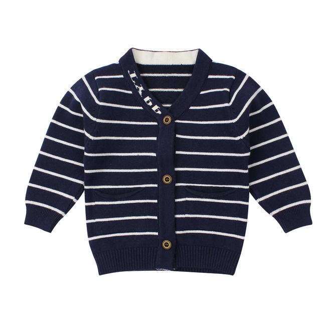 18bf68f1d Striped Cotton Baby Sweater Casual Knit Newborn Baby Cardigan Long ...