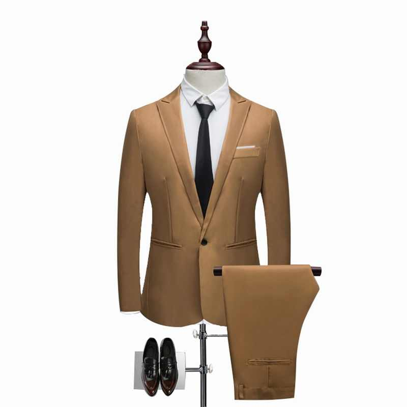 Oeak Classic 2 Stukken Blazer & Pak Broek Set Mannen Formele Pak Sets Casual Slim Fit Plus Size 3XL bruiloft Past Sets