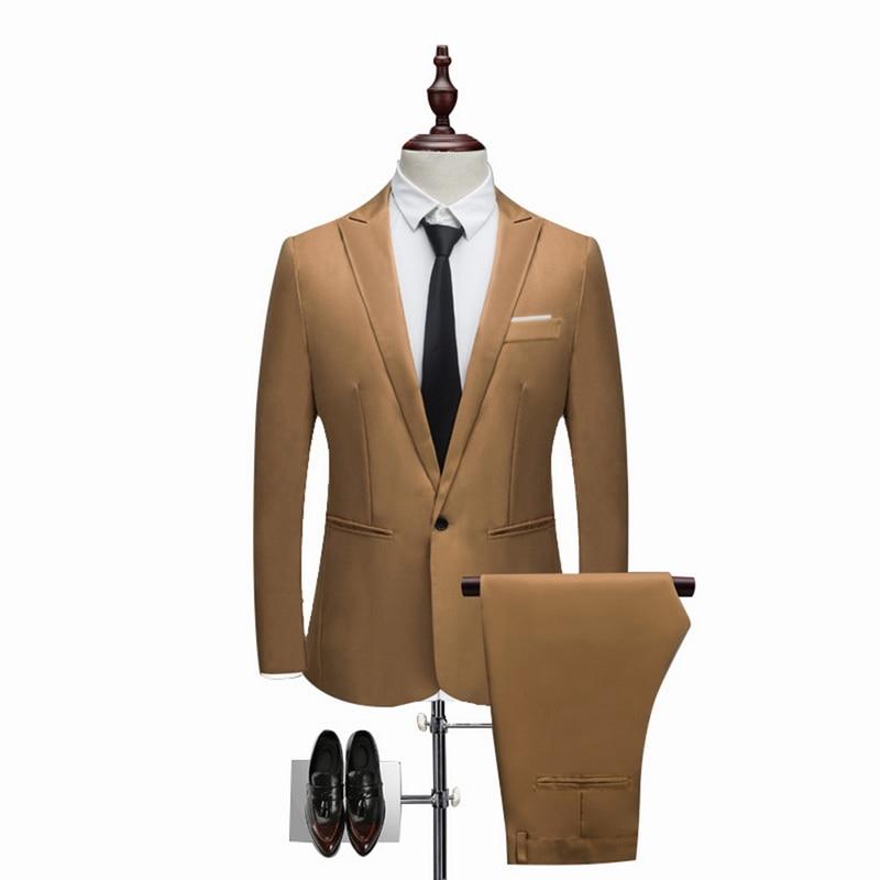 Oeak Classic 2 Pieces Blazer& Suit Pants Set Men Formal Business Suit Sets Casual Slim Fit  Plus Size 3XL Wedding Suits Sets