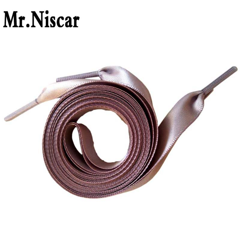 1 Pair L 50-200cm W 2cm Fashion Grey Flat Shoelaces Wedding Silk Ribbon Shoelace Satin Shoe Laces for Sneakers Shoe Rope brown satin ribbon shoelace 2cm width