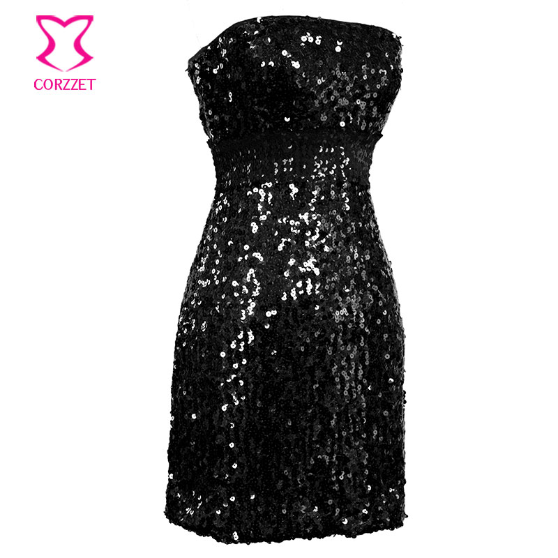 Sexy Strapless Black Dazzling Sequin Bodycon Mini Wrap Dress Plus Size XXL  Punk Club Rockabilly Women Summer Dresses-in Dresses from Women s Clothing  on ... 0115ba8b17fd