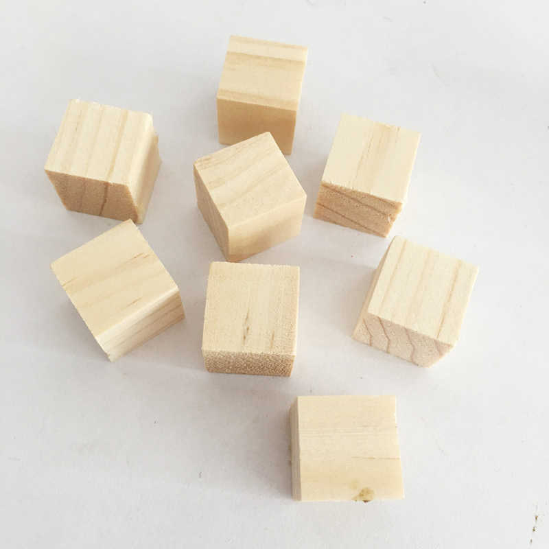 10/25/25mm Wooden Square Alphabet Blocks Mini Cubes Embellishment for Woodwork Craft DIY Game Toy