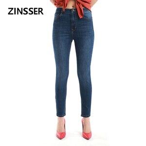 Image 4 - Automne hiver loisirs minimaliste femmes Denim Skinny pantalon Stretch taille haute lavé bleu gris noir Slim élastique dame Jeans