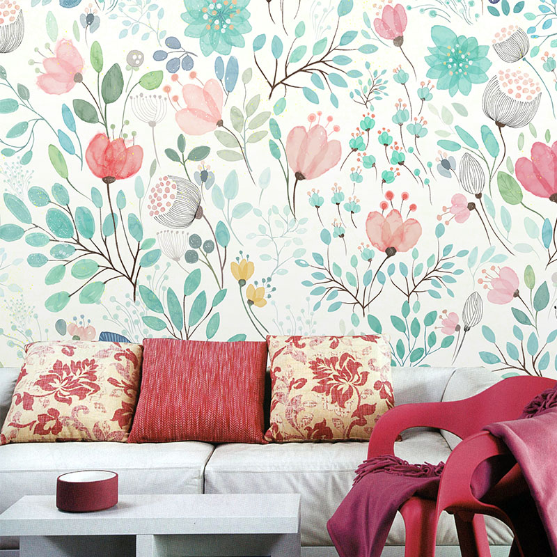Custom 3d photo Watercolor art wallpaper flowers self-adhesive non-woven background mural seamless large custom TV personality