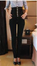 2016 зима на западе мода старинные плюс размер S-6XL высокая талия добавить шерсть утолщаются карандаш оболочка ковбой denim джинсы женские D192