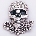 Halloween Retro Punk Crystal Rhinestone Flowers Skeleton Skull Brooches Pins Unisex Vintage Silver Gold Women Men