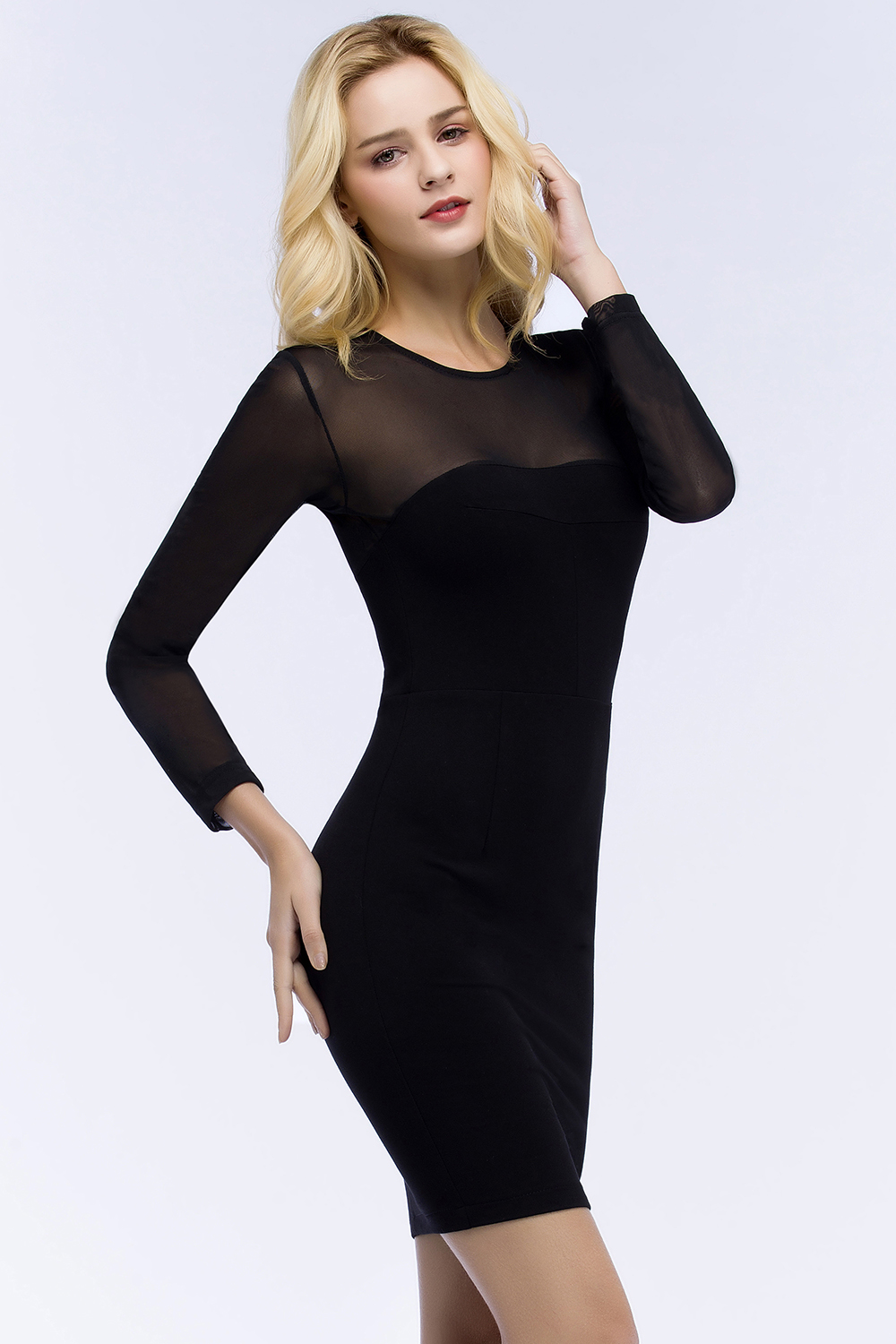Robe Cocktail Sexy Transparent Long Sleeve Black Cocktail Dresses ...