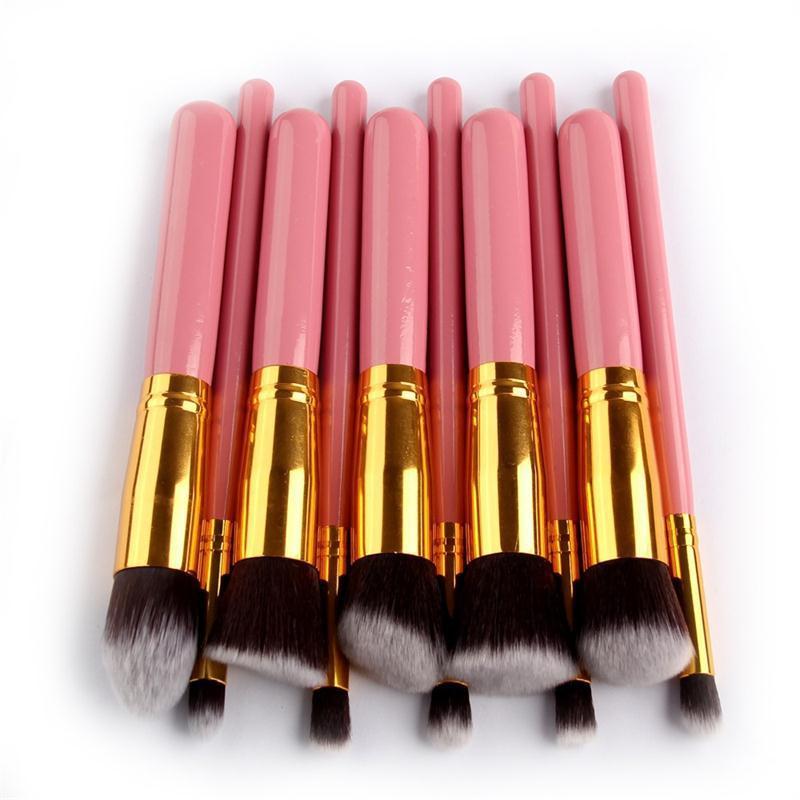 Makeup Brushes 10 Pcs Kabuki Brush Set Superior Professional Soft Cosmetics Make Up Brush Kit Pink Makeup Brushes Maquiagem настенные часы rhythm cmg746nr06