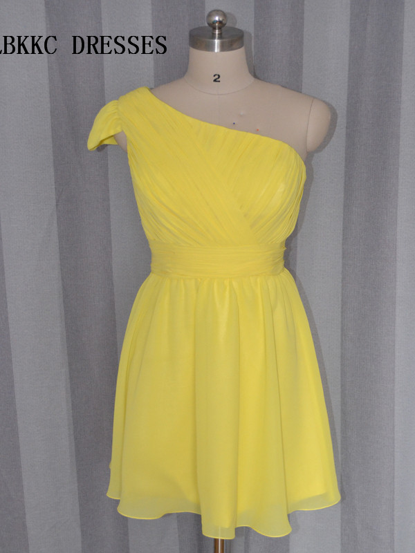 One Shoulder Yellow   Cocktail     Dresses   Knee Length Short Party Prom Gown Vestido   Cocktail   Abiti Da Cerimonia Donna