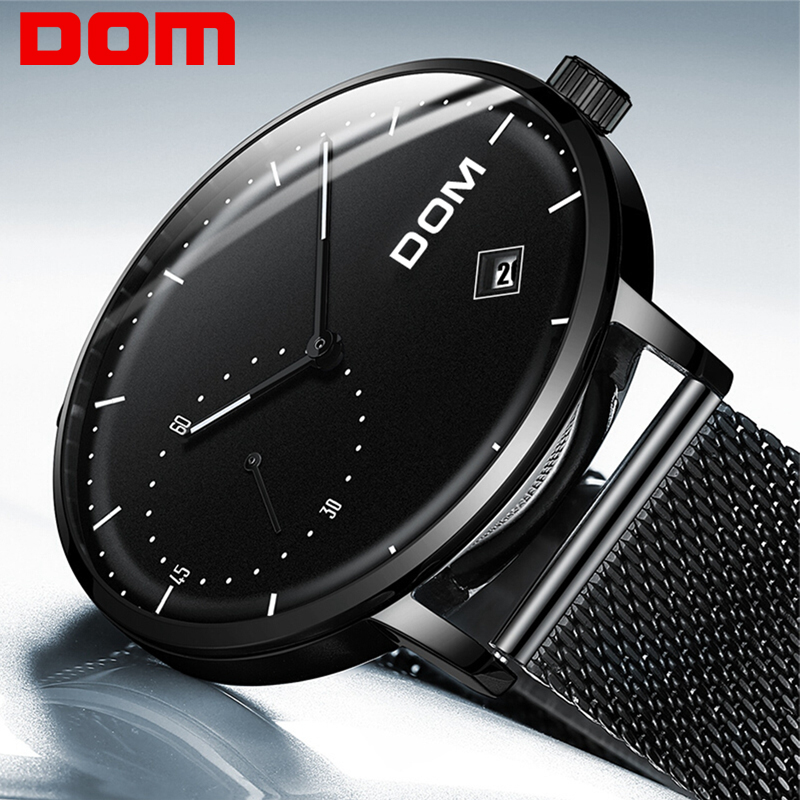 DOM Mens Watches Top Brand Luxury Men's Watches Black Stainless Steel Mesh Band Quartz Wristwatch Fashion Casual Luminous Watch