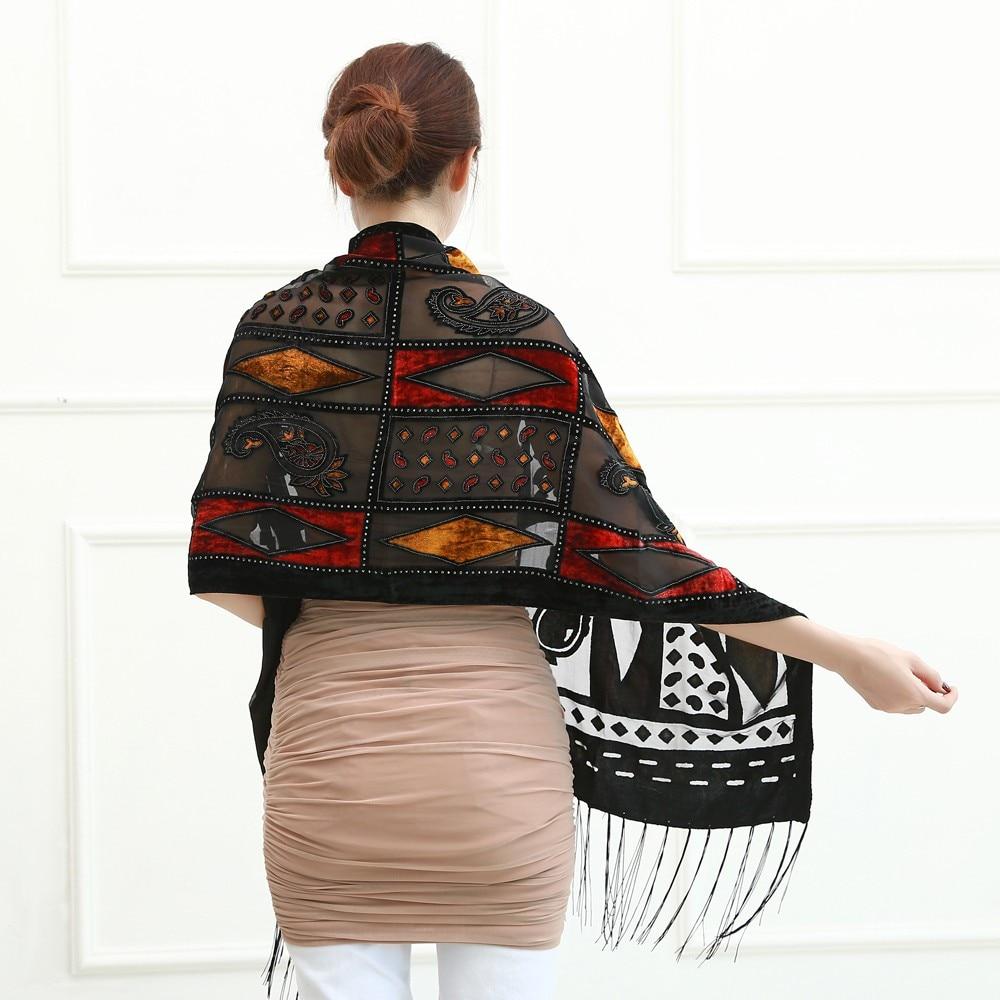 Espanha itália quente geométrica veludo cachecol feminino