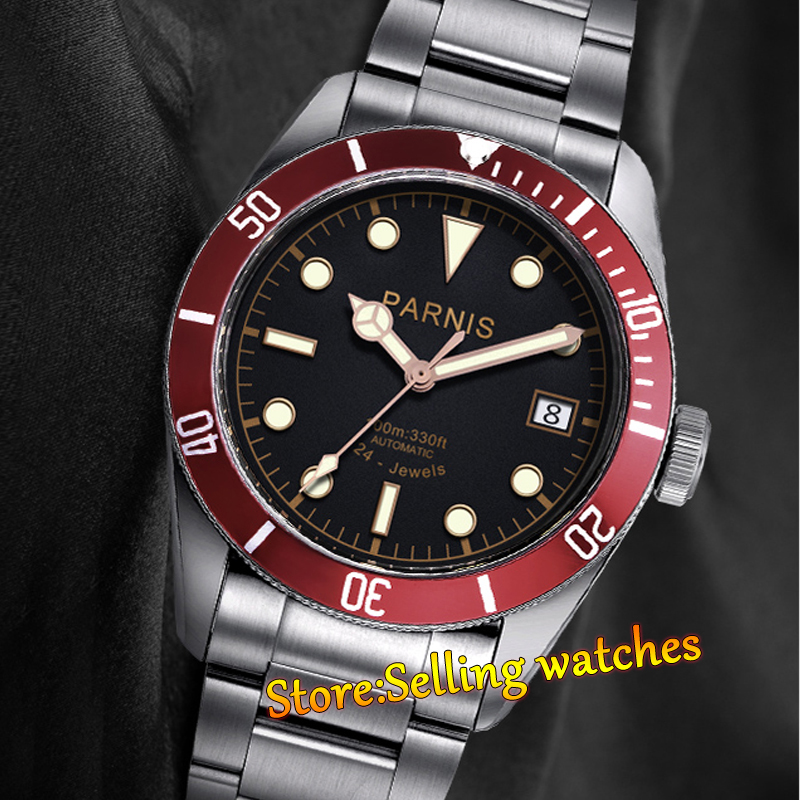 Parnis 41mm black dial sapphire glass red beze10ATM MIYOTA Automatic mens watch
