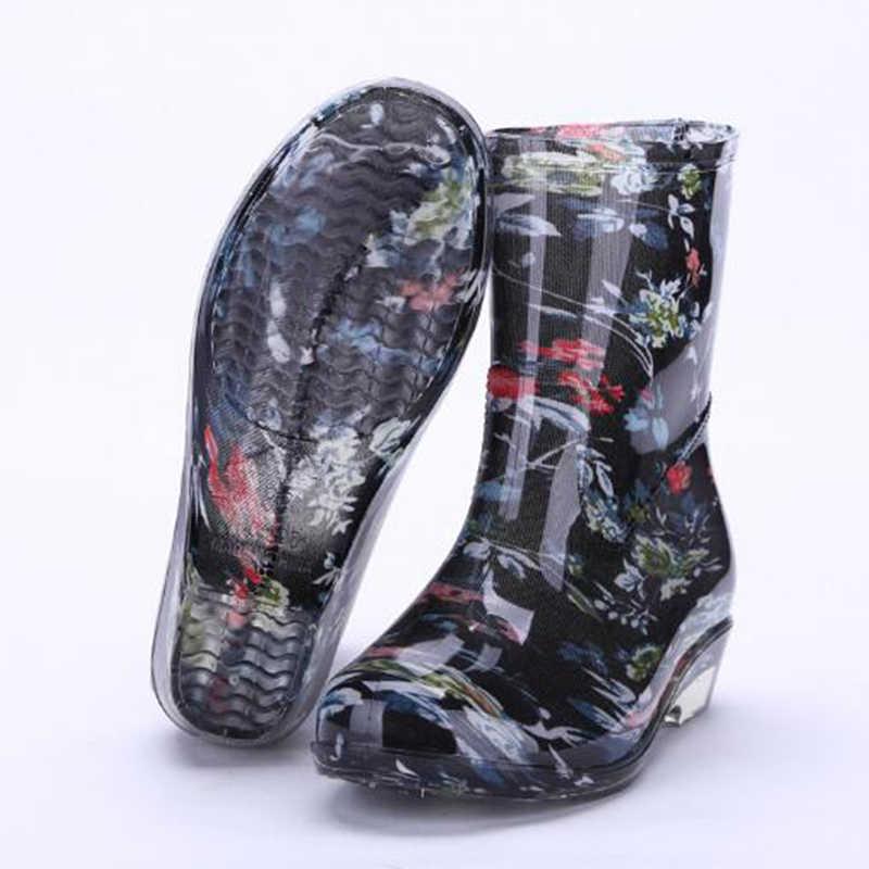 Aleafalling Thiết Kế Mới của Cô Gái Giày Đi Mưa Chống Thấm Nước Giày Dép Người Phụ Nữ Đi Mưa Người Phụ Nữ Nước Cao Su Midcalf Giày Mùa Xuân Botas W066-01