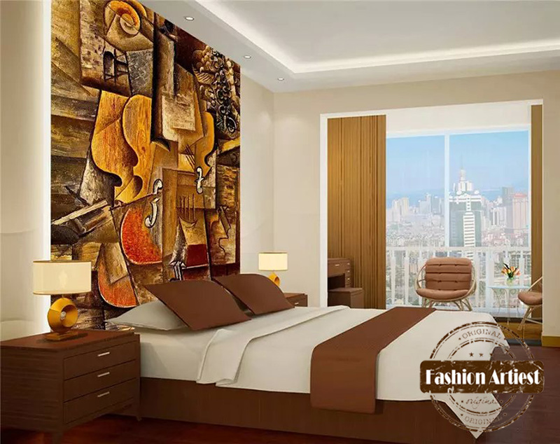 Custom Abstract Art Wallpaper Mural Impression Oil Painting Wooden Guitar  Tv Sofa Bedroom Living Room Cafe Restaurant Background In Wallpapers From  Home ...