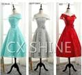 Cheap elegant tea-length V-Neck short lace bridesmaid dresses wedding Party dress, Mid-calf prom dress
