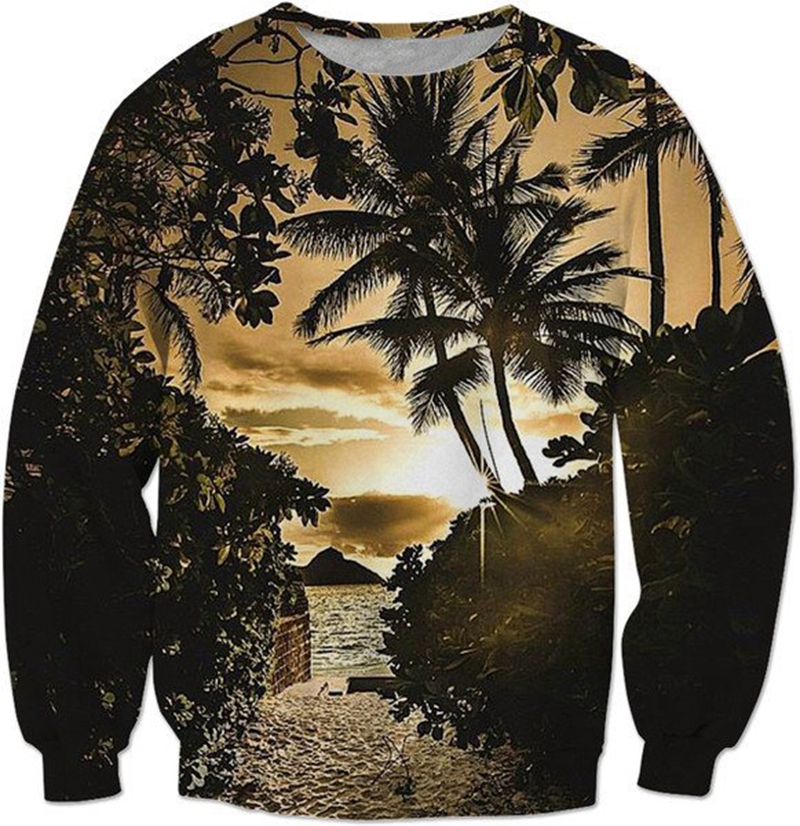 2018 FASHION MEN WOMEN seaside sunrise landscape Sweat shirts Pullovers Autumn Tracksuit Streetwear Winter Loose Thin Hoody Top