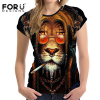 FORUDESIGNS Tshirt Women 3D Lion Printing Woman Tops Short Sleeved Casual Shirt For Ladies Slim Bodybuilding