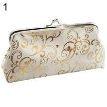 Women's Ethnic Dumpling Floral Wallet Card Holder Coin Purse Clutch Handbag Bag