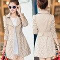 Ms. blusão casaco feminino venda quente trench coat 2016 nova primavera outono Coreano costura rendas de slim casaco longo casaco maré CT164