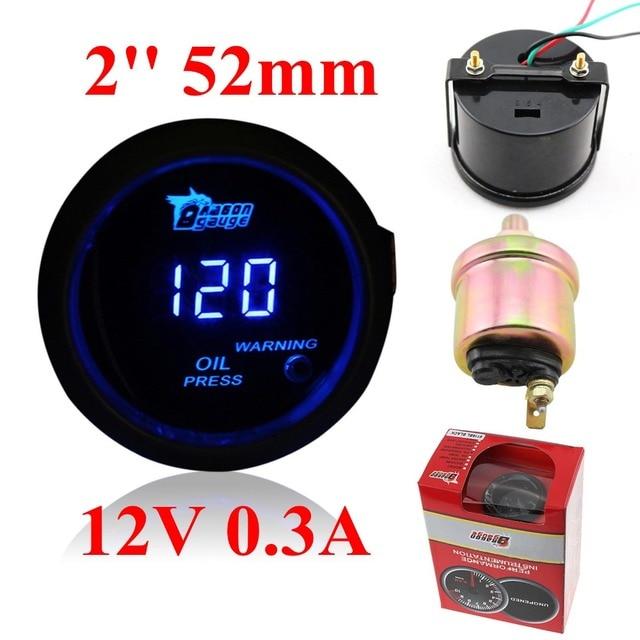 dragon gauge 52mm oil pressure gauge black color digital blue led 0-150psi
