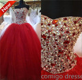 New Ball Gown Wedding Dresses Sweetheart Red Tulle Beaded Rhinestone Bridal Gown Court Train Vestidos De Noiva ZL1604