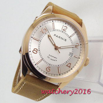 42MM PARNIS Automatic Mechanical Rotgold watches 24 jewels Japanese Miyota NH35 White dial Date Sapphire Crystal mens watch