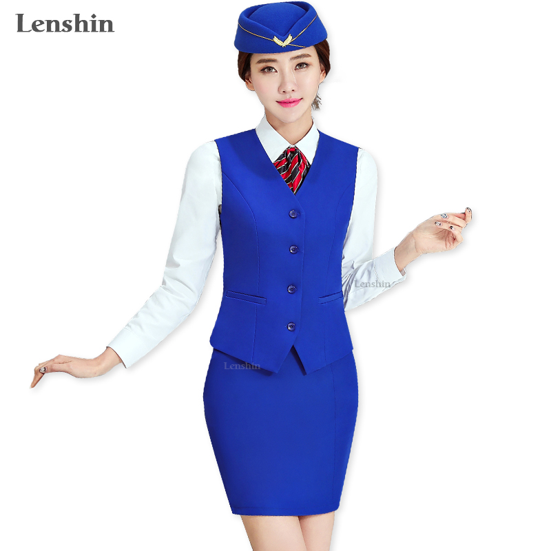 Conjunto de 2 piezas de falda azul para mujer chaleco sin