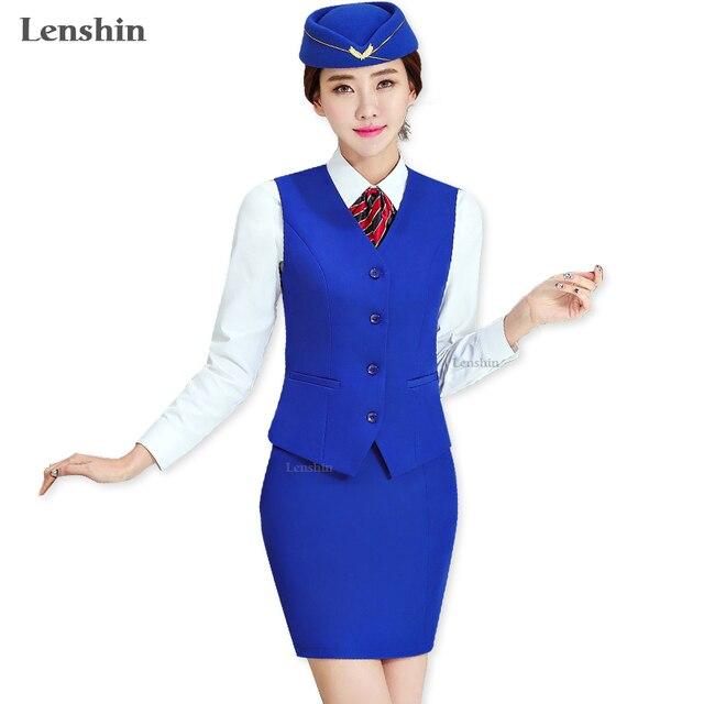 Lenshin 2 Piece Set Blue Skirt Suit Women Sleeveless Vest And Skirt