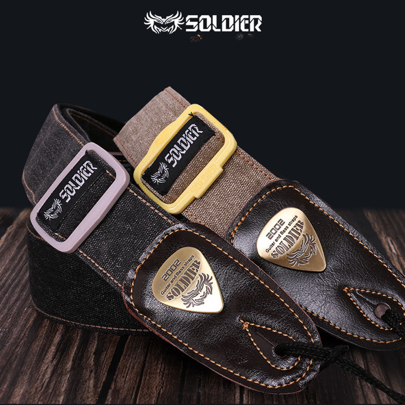 Soldier Guitar Strap Leather Head Electric Bass Widened Thick Diagonal Shoulder Strap Cotton Canvas Durable Guitar Accessories