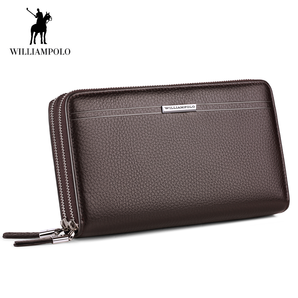 Brand Men Wallets Genuine Leather Solid Double Zipper Wallets Male Long Purse men's Clutch Bag Phone Card Holder Coin Purse Men