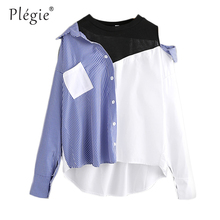 Plegie Contrast Patchwork Shirt Blouse Women Asymmetric Open Shoulder Sexy Tops 2018 Fashion Striped Casual Dip Hem Shirt