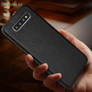 Image 1 - Sprawa dla Samsung Galaxy S10 S8 S9 Plus S10e skórzany pokrowiec luksusowe liczi Fundas pokrywa dla Samsung S10 S9 S8 Plus przypadki