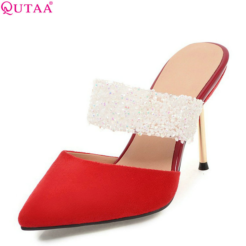 QUTAA 2018 Women Pumps Flock Fashion Women Wedding Shoes Pointed Toe Thin High Heel Sexy Bling Ladies Pumps Size 34-43 bowknot pointed toe women pumps flock leather woman thin high heels wedding shoes 2017 new fashion shoes plus size 41 42