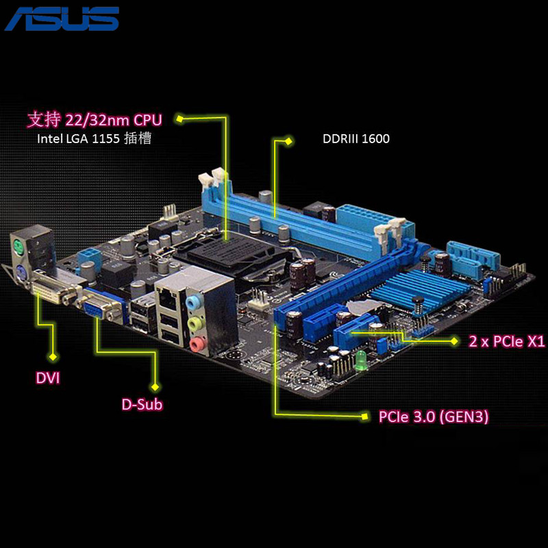 Asus H61M-K Motherboard H61 Chip Support Socket LGA 1155 i3 i5 i7 DDR3 16G ms h61xl h61 maxsun motherboard 1155 needle match g530 g620 i3 brand new and authentic two tpyes random distribution