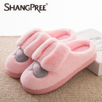 New Fashion Ladies Slippers Women Soft Autumn Winter Warm Home Cotton Plush Slippers Couple Couple Indoor