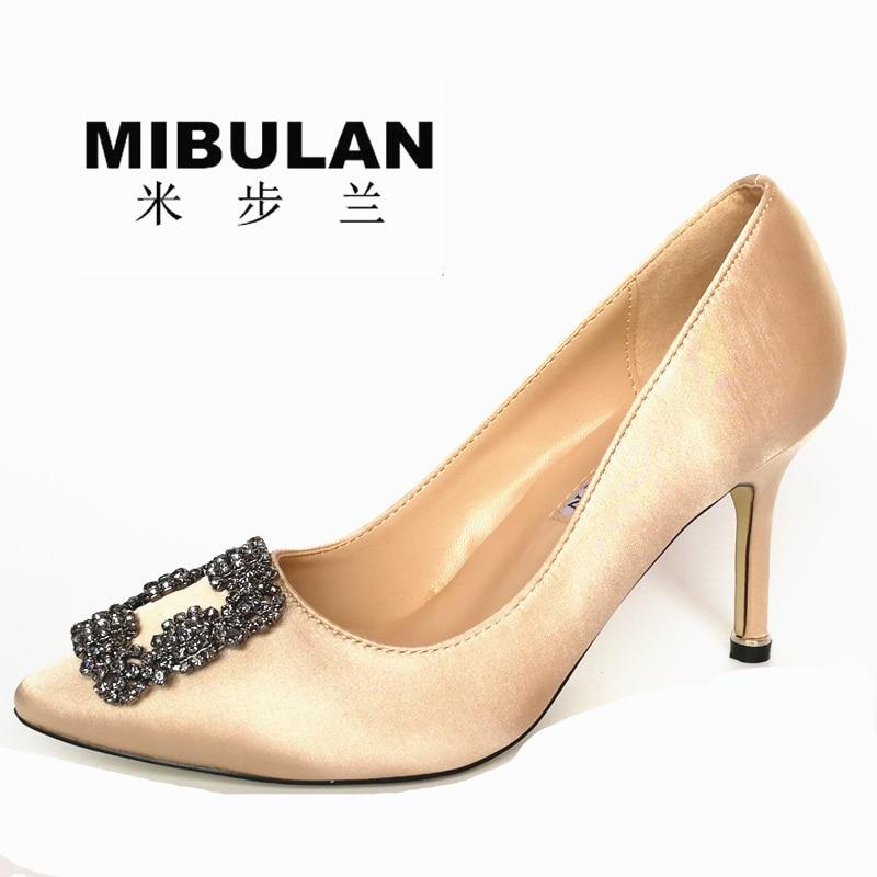 Ingyenes szállítás női klasszikus selyem kristály gyémánt - Női cipő