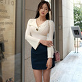 2017 New Spring Women sexy dress suit Office Work Sexy Vintage  Flare Sleeve white tops and Mini Short skirt 2 piece set