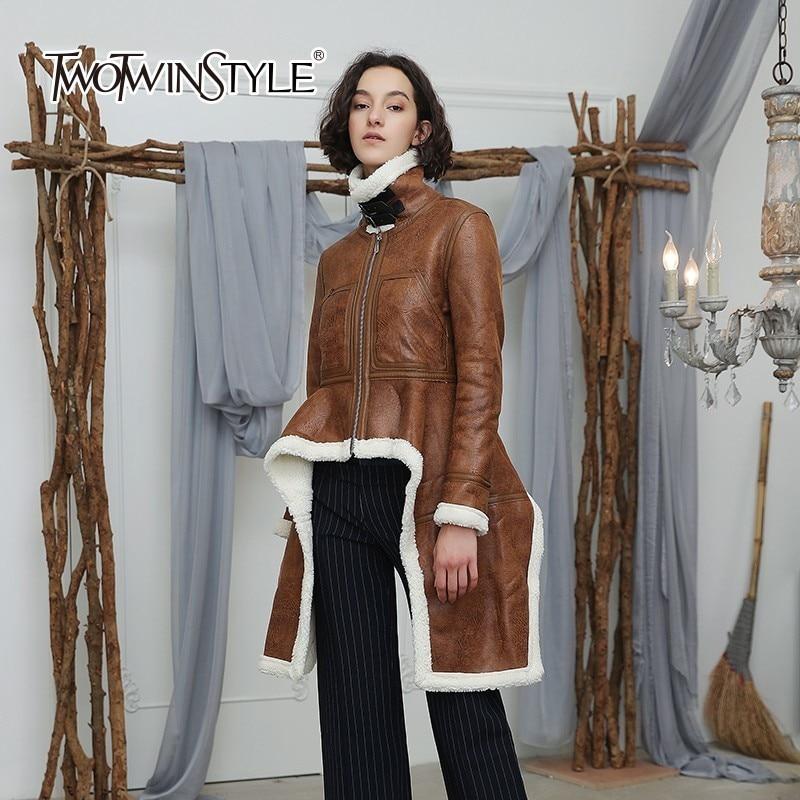 TWOTWINSTYLE Irregular Fleece Coats Women Turtleneck Long Sleeve Velvet Thick Jacket Tops Female 2018 Winter Plus