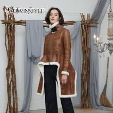 TWOTWINSTYLE нерегулярные флисовые пальто Для женщин Водолазка с длинным рукавом бархата толстые куртки топы женские 2018 зима плюс Размеры Мода