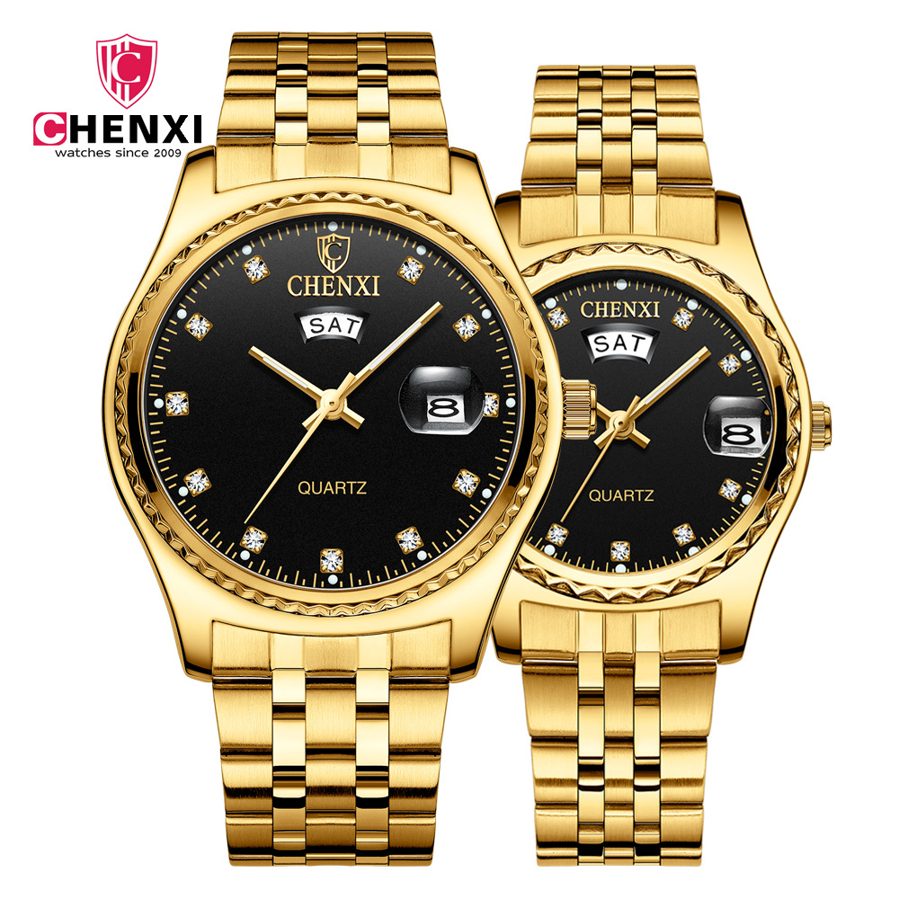 CHENXI Gold Watch Men Women Watches Top Brand Luxury Fashion Wristwatch Steel Strap Couple Casual Quartz Watch Relogio Masculino