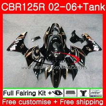 Body Tank For HONDA Glossy blk CBR 125R 125CC CBR125RR CBR125R 02 03 04 05 06