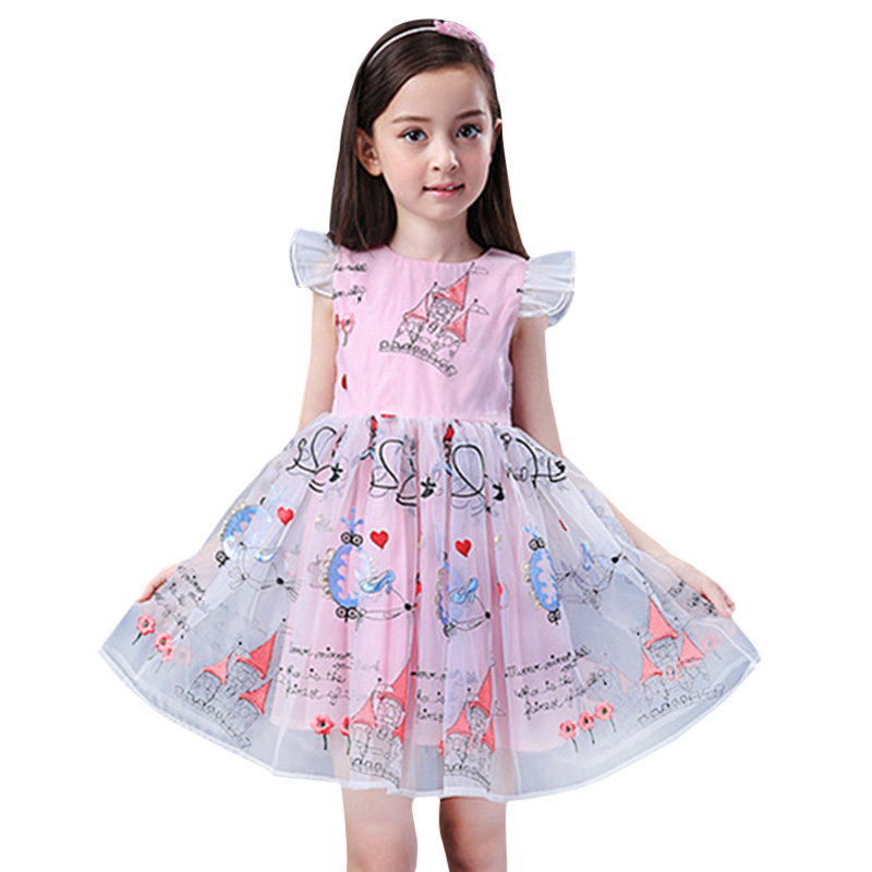 Summer Printing Girls Wedding Birthday Party Dresses Princess Formal Prom Gowns Size 3-12 years 2017 New Kids girl clothes new year formal gown princess summer 2017 new party dress girl children clothing prom wedding kids clothes girls tutu dresses