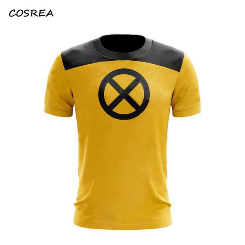 1pcs Deadpool 2 T-Shirt Superhero Cosplay Costumes Yellow Slim Short Mens Short Sleeve Cosplay T-shirts Tee Shirts Halloween