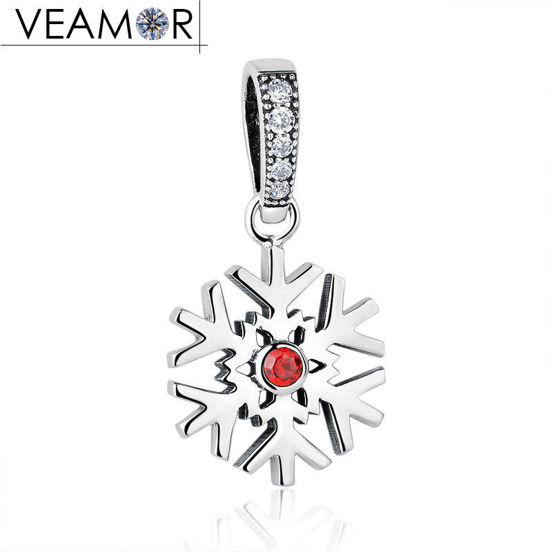VEAMOR Christmas 925 Sterling Silver Red Stone Snowflake Pendant Charms Fit Pandora Bracelets Women Necklaces DIY Jewelry Making