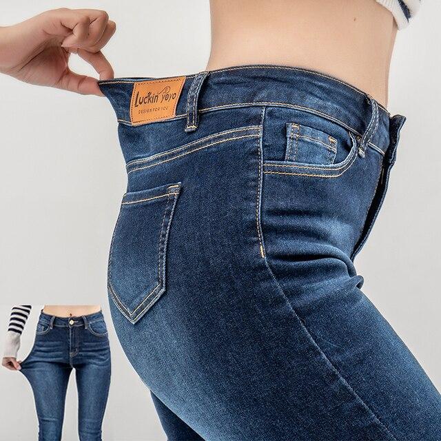 Luckinyoyo ז 'אן ג' ינס לנשים עם גבוהה מותניים מכנסיים לנשים בתוספת עד גדול גודל סקיני ג 'ינס אישה 5xl ג' ינס