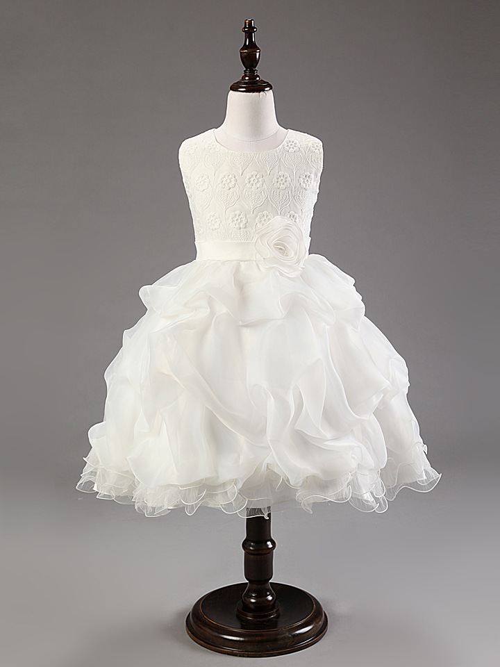 fashion puff lace pink red white  flower girls christening dress wedding party dress baby